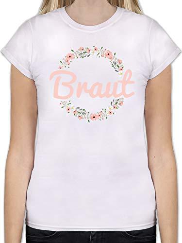 JGA Junggesellinnenabschied - Braut Blumenkranz rosa - L - Weiß - L191 - Tailliertes Tshirt für Damen und Frauen T-Shirt