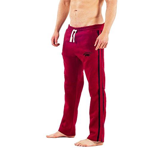 SMILODOX Herren Jogginghose | Trainingshose für Sport Fitness Gym Training & Freizeit | Sporthose - Jogger Pants - Sweatpants Hosen - Freizeithose Lang Rot/Schwarz