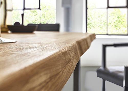 SAM Esszimmertisch Seattle, Eichenholz, naturfarben, U-Gestell aus Metall, Baumkantentisch, Unikat