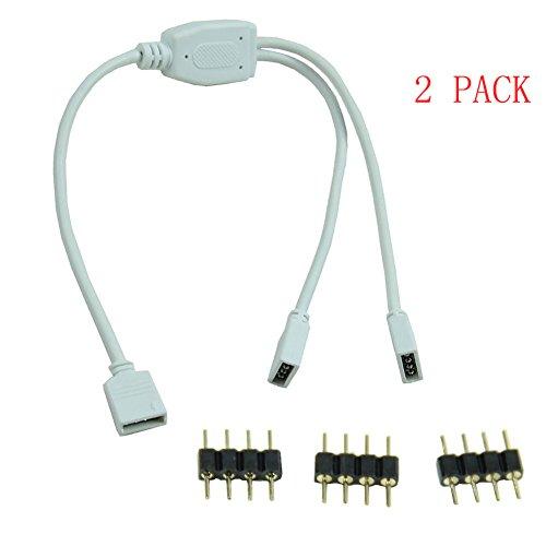 2 Pack 4 Pin divisore femminile cavo di collegamento per la striscia di RGB LED (1 to 2) - Stagno Striscia