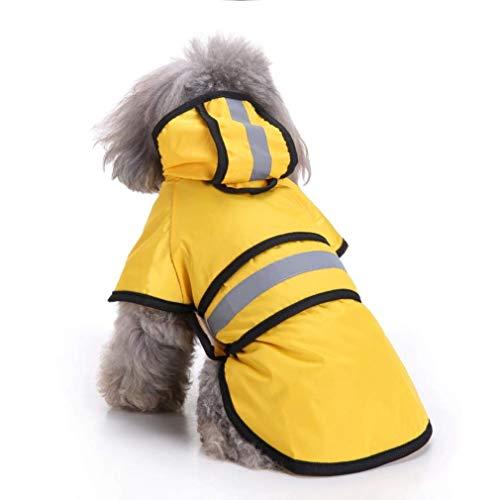 Ruizi Haustier Hund Regenmantel Leichtes Tuch mit reflektierenden Sicherheitsstreifen Hund Regenmantel für große/mittlere/kleine Hund Jacke (Gelb, Mittel)