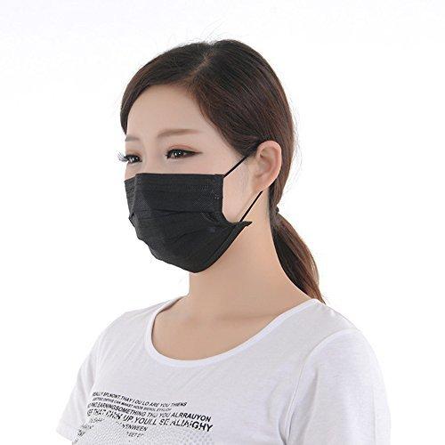 Jumuu schwarze 4-lagige Einweg-Aktivkohlemaske, Aktivkohlefilter, für die Verwendung mit Bakterien...