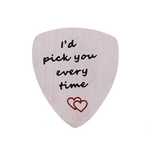 YeeQin I 'd Pick You Every Time Gitarre Plektrum, Musical Geschenk, Jahrestag Datum, Valentinstag Geschenk für Herren