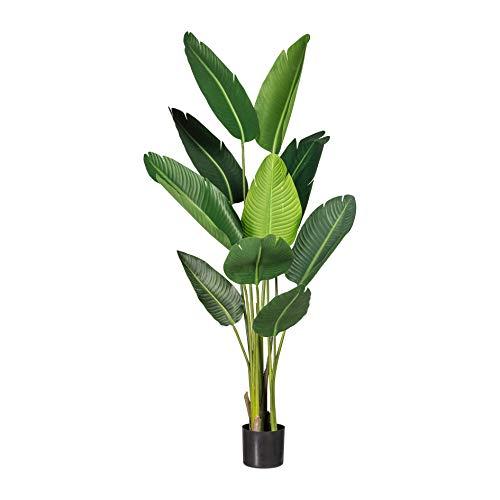 Homefinity Künstliche Bananenpflanze ca 150cm grün im schwarzen Kunststofftopf Dekopflanze