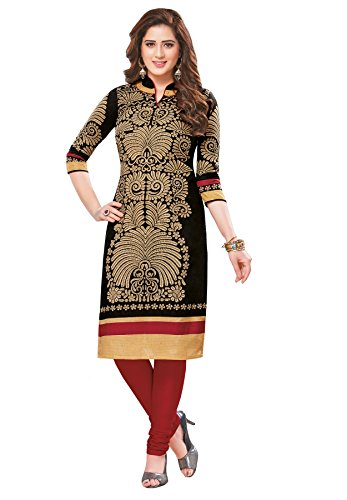 Salwar Studio Women's Black & Beige Cotton Floral Printed Unstitched Kurti Fabric (only Kurti Fabric)  available at amazon for Rs.475