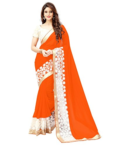 Dubai Creation Women\'s Orange And White Color Georgette AND Net saree With Blouse Piece