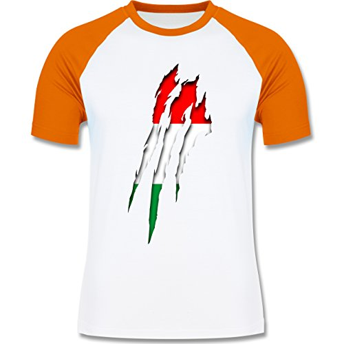 EM 2016 - Frankreich - Ungarn Krallenspuren - zweifarbiges Baseballshirt für Männer Weiß/Orange
