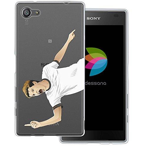 dessana Fußballer Transparente Silikon TPU Schutzhülle 0,7mm Dünne Handy Tasche Soft Case für Sony Xperia Z5 Compact Fußball Verteidigung