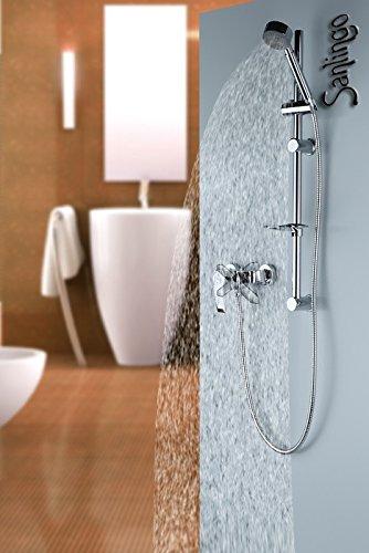 Sanlingo - Duscharmatur mit Brausegarnitur und Duschstange, Chrom