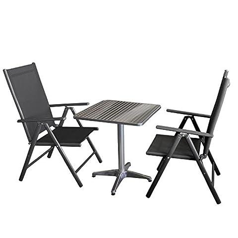 Balkonmöbel-Set klappbarer Aluminiumtisch 60x60cm in Schleifoptik + 2x Gartenstuhl, Klappstuhl mit robuster Textilenbespannung, Aluminiumgestell, Lehne 7-fach verstellbar, klappbar