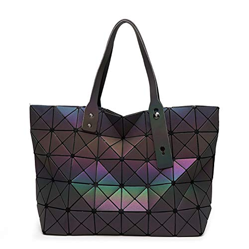 enlOWJ Tote Geometric Quilted Shoulder Bags Laser Plain Folding Handbags,1 Luminous