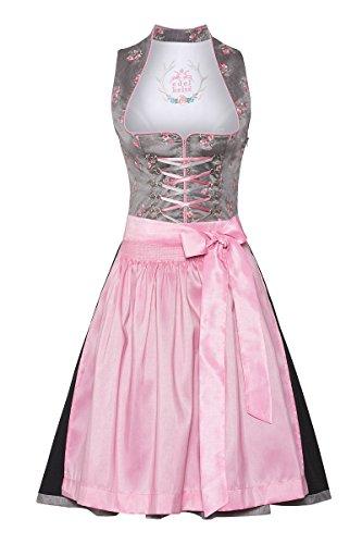 Edelheiss Damen Mini Dirndl 60er grau-rosa 132507