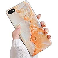 Oihxse Compatible para Huawei Nova 3i Funda de Mármol Cristal Patrón Suave Silicona TPU Flexible Gel Protectora Carcasa Ultra Fina Anti Choque Protección Cubierta Caja (Naranja)