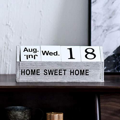 DLH Dekoration, Tischkalender Dekoration - Wohnzimmer Dekoration Schmuck - Retro Holzmöbel - Home Office Schlafzimmer 26,2 * 8,5 * 10,3 cm,B