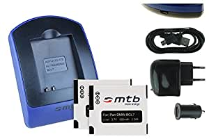 2x Batteria + Caricabatteria (USB/Auto/Corrente) DMW-BCL7 per Panasonic Lumix DMC-F5, FH10, FS50, SZ3, SZ9, SZ10, XS1, XS3