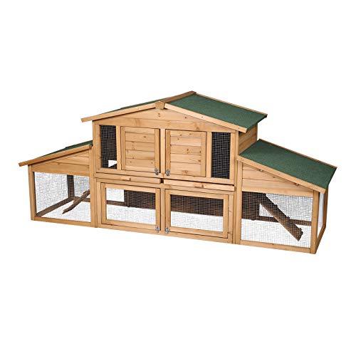 Elightry Cage de Lapin imperméable,Clapier à Lapin en Bois Massif, Clapier extérieur, 2 étages,230 * 74 * 99cm