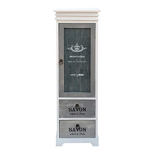 Rebecca Mobili Vitrina Almacenamiento Armario Madera 1 Puerta 2 Cajones Design Retro Blanco Gris Sala de Estar Salón - 103 x 32 x 29 cm (A x AN x FON) - Art. RE6092