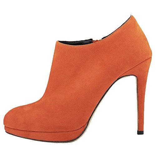 HooH Femmes Sexy Velours Round-toe Stiletto Roma Bottines Orange