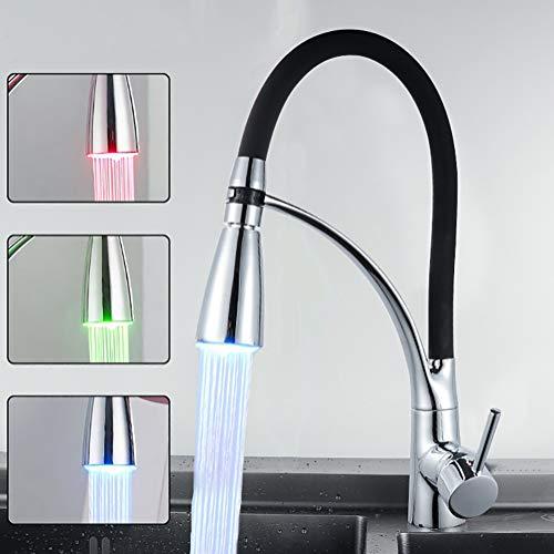 Aijin LED Micro-Pull Wasserhahn Kupfer Chrom heiße und kalte Wasser Temperatur Single Handle Waschbecken Waschbecken Waschbecken Badezimmer einzelne Wasserhahn - Einzelne Waschbecken Wasserhahn Badezimmer