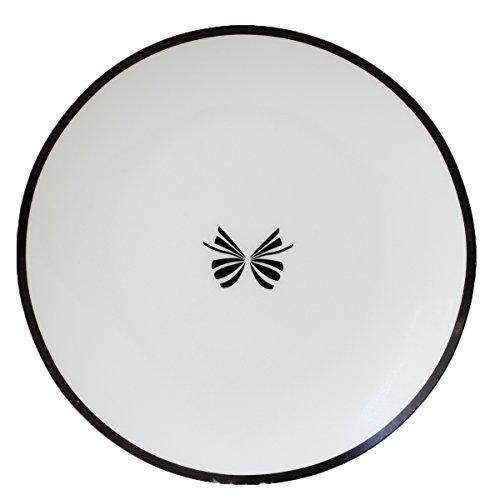 Fine Bone China 20,3cm Brot und Butter Teller, schwarz rund, Schmetterling, Icon, Set 4 Bone China Bread Butter Plate