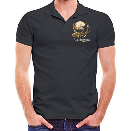 Männer und Herren POLO Shirt Zur Jagd gehört die Trophäe HIRSCH Geweih (mit Rückendruck) Aschgrau
