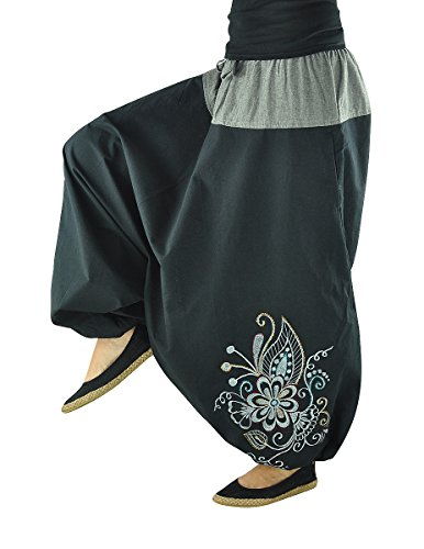 virblatt - Haremshose Damen Hippie Kleidung Yoga Kleidung - Nachtschattengewächs bk