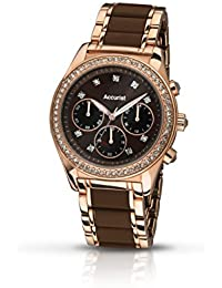 Accurist Women's Quartz Watch with Brown Dial Chronograph Display and Brown Rose Gold Plated Stainless Steel Bracelet Lb211Br.01