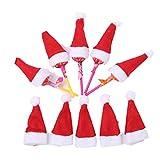 OULII 10 Stück mini Weihnachtsmütze klein Nikolausmütze Schoko Eier Süßigkeit Flaschen Deko Weihnachtsmannmützen Weihnachtsdeko