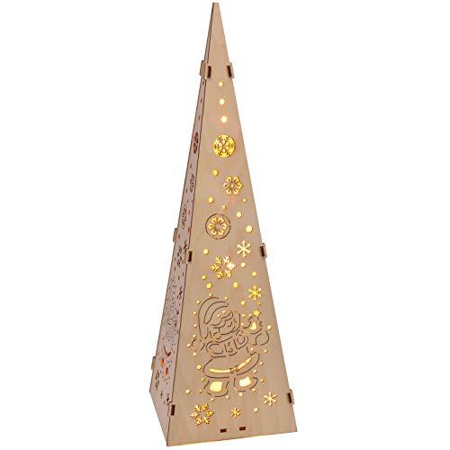 Weihnachtspyramide Pyramide aus Holz 45cm Kegel Lichtkegel Tischlampe Tischleuchte Beleuchtung Weihnachten Christmas Dekoration braun Tischdeko Holzpyramide beleuchtet Advents Licht 15 LED Dekolampe