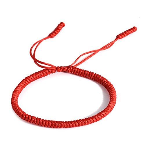 Glücks-Armband aus Tibetisch-Buddhistischen Handgemachten Seilknoten (Rot)