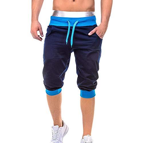 BASACA Pantalons Hommes Garçon Étudiant Printemps Été Shorts Et Bermudas Décontracté élastique Sportif Joggings Sport Uni avec Poches Amples Mode 2019 (Marine, XXL)