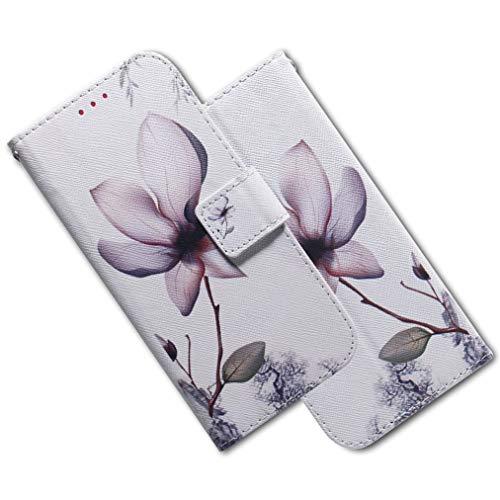 MRSTER Xiaomi Redmi Note 7 Hülle Leder, Langlebig Leichtes Klassisches Design Flip Wallet Case PU-Leder Schutzhülle Brieftasche Handyhülle für Xiaomi Redmi Note 7. EF PU- White Lotus -