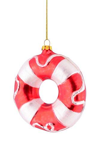Gift Company - Baumschmuck, Christbaumschmuck, Anhänger, Hänger - Rettungsring - rot/weiß - Glas - 9,5x9,5x3cm