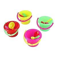 Rouku 4pcs Novelty Mini Beach Toys Set Sand Pails Bucket with Shovel Rake Summer Pool Beach Sand Play Toys Gift for Children Kids