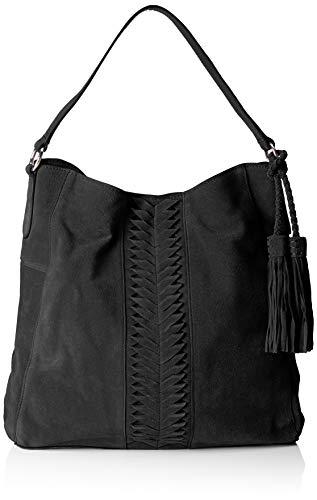 PIECES Damen Pckorie Suede Hobo Bag Schultertasche, Schwarz (Black), 13x37x37 cm -