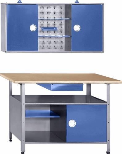 Itech Werkstatt Werkbank Werkzeugschrank Werkstatteinrichtung blau Drehgriffe