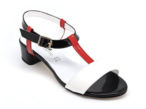 Melluso sandali donna, tomaia pelle lucida multicolore, suola gomma e tacco alto 4 cm. (EU 39)