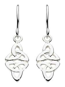 Heritage Womens Sterling Silver Celtic Double Trinity Drop Earrings 6216HP