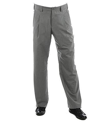 Hose Swing in grau mit weißem Nadelstreifen, für Herren BESTE QUALITÄT, Hose mit Nadelstreifen bei H K Mandel, Hosen Modell: Swing, 3016135 Grösse (Meisterhand Kostüm)