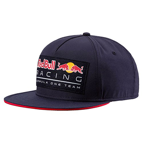 Red Bull Racing Adultos Puma Lifestyle Flat Brim 2018 Cap, Night Sky,