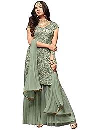 113c3e5f0c7 Fabzara Womens Net Dress Material(Maisha 1105  Aqua Aqua Free Size)