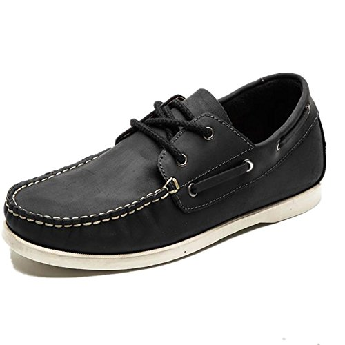 Zengvee Brown BoatShoes Lace-Up Flat Schwarz