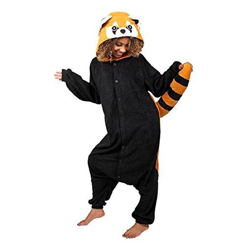 Anbelarui Waschbär Jumpsuit Tier Cartoon Fasching Halloween Kostüm Sleepsuit Cosplay Fleece-Overall Pyjama Schlafanzug Erwachsene Unisex Tier OneSize (M (156-165CM)) (Halloween Kostüm Waschbär)