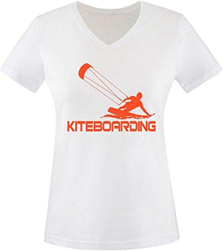 EZYshirt® Kiteboarding Damen V-Neck T-Shirt Weiß/Orange