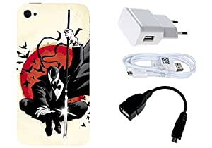 Spygen Apple iphone 4/4S Case Combo of Premium Quality Designer Printed 3D Lightweight Slim Matte Finish Hard Case Back Cover + Charger Adapter + High Speed Data Cable + Premium Quality OTG