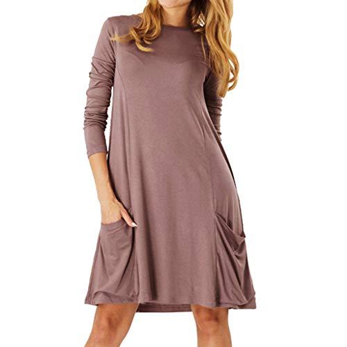 MAYOGO Damen Kleider Langarm Casual Kaftan Kleid mit Tasche, Frauen Sommer-Herbst Freizeitkleider Einfarbig Schick Jersey Kleid mit - Kaiser Schmetterlings Kostüm