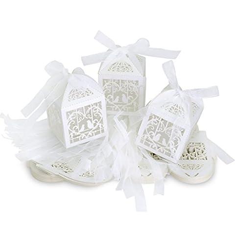 WOLFTEETH Lot de 100 Bonbonnières Drageoir boîtes à dragées bonbons pour décoration de mariage anniversaire un petit cadeau emballage découpage Blanc
