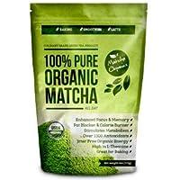 Té verde Matcha orgánico en polvo aprobado por USDA - Suplemento natural para la pérdida de peso y la desintoxicación - Estimulante del metabolismo y Quema-grasas - Ideal para batidos, licuados y productos horneados - 113 gramos - Calidad culinaria