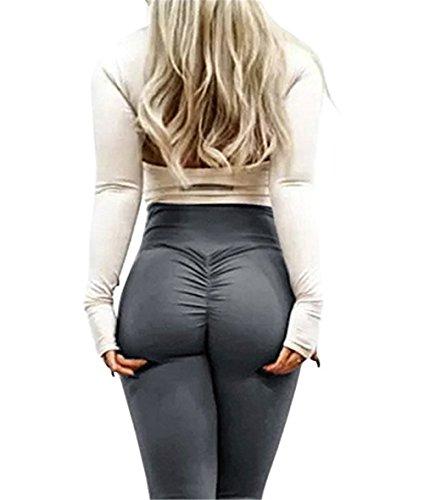 Shelers Damen Geraffte Hintern-Gamaschen-hohe Taillen-Trainings-Sport-Strumpfhosen-Yoga-Hosen (Dunkelgrau, XL) (Leggings Yoga Strumpfhosen)