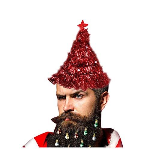 BIKETAFUWY Weihnachtsbaum Hut für Weihnachten und Weihnachtsfeier Tannenbaum Hut Weihnachtsmütze mit Girlande Kugel und Stern Lustiges Party Kinder Erwachsene Mütze Frühlingsmütze